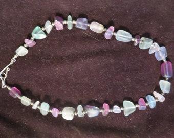"8"" purple/greens chunky sea glass necklace"