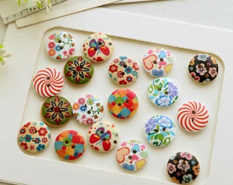Wooden Painted Sewing Buttons Lovely fresh pattern wooden buttons diameter 1.8cm Knopf Botton Eco Friendly 2 Holes Button bulk--20pcs