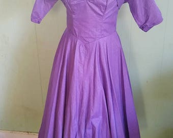 Vintage 1950s Dress and Bolero | Truly fantastic Deep Lilac Strapless Sweetheart Dress and Cropped Bolero Jacket - M