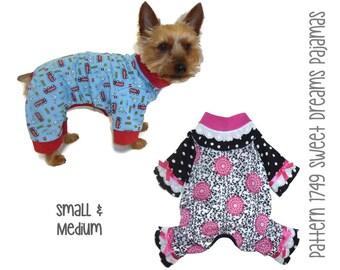 Sweet Dreams Dog Pajamas Pattern 1749 * Dog Onesies * Dog PJs * Dog Winter Clothes * Dog Onesie Pajamas * Small Dog Pajamas * Sm & Med