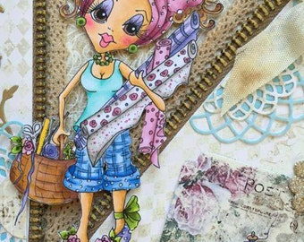 INSTANT DOWMLOAD Digital Digi Stamps Big Eye Big Head Dolls Digi Crafty Chicks Img553  By Sherri Baldy