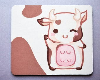 Cute baby cow mouse mat with chibi kawaii animal cartoon art- farm animal gift for office desk coworker mousepad