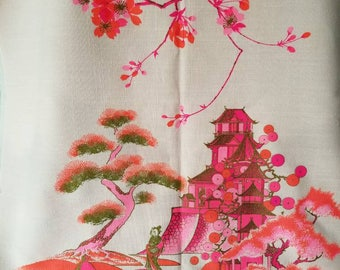 Vintage Alfred Shaheen fabric from the sixties. Gorgeous fabric like new condition. Asian design. Pink vintage fabric.