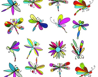Colors Of The  Dragonflies - Ceramic Waterslide Decal - Enamel Decal - Fusible Decal - 47756S