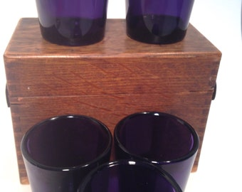 Purple shot glasses, early 1900's, set of 5 matching, whiskey, bourbon