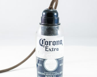 Corona pendant lamp made from the bottle
