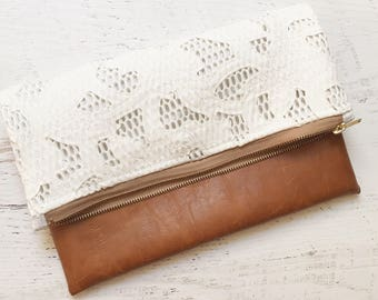 White Lace & Brown Faux Leather Foldover Clutch - Gift for her, Birthday, Anniversary, Bridesmaid