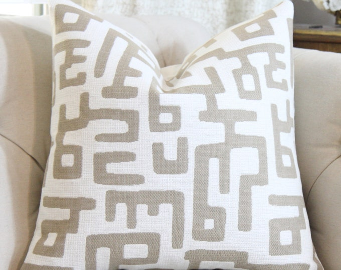 Geometric Pillow Cover - Ivory Pillow Cover -Tribal Geometric Throw - Modern Light Brown Pillow - Taupe Pillow - Lee Jofa Pillow