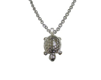 Silver Toned Turtle Tortoise Pendant Necklace