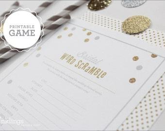 Printable Bridal Word Scramble Sheet // Choose your color