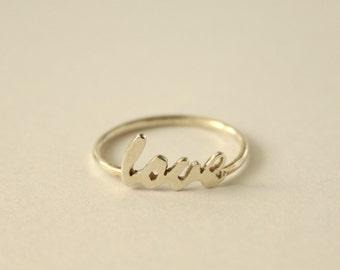Love Script Ring in Sterling Silver Solid Sterling Love Ring Dainty Love Ring Valentine Gift Handwritten Love Handmade Ring Romantic Gift