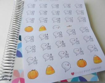 Halloween Ghost Countdown - set of 40 stickers perfect for Erin Condren Life Planner, Kikki K or Filofax Planner