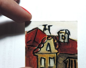 Small acrylic painting, red painting, Roofs in Transylvania, miniature art, tiny painting, original Romania, unique gift, travel souvenir