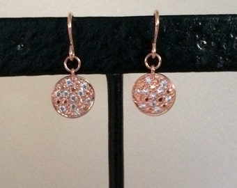 Rose Gold Pave Crystal Earrings, Disc earrings, Rose Gold, Fall Fashion, Everyday, Drop, Dangle, circle, round