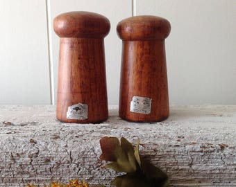 Vintage Baker Hart Stuart Wooden Salt, Pepper Shaker, Turned Teak Wood Mid Century S/P Set
