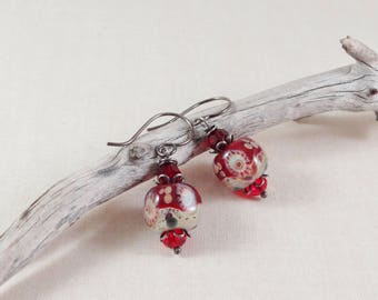 Beautiful Petite Earring,Romantic,Sterling Silver,Poetic Red,Valentine's Gift,Boucles D'oreilles,Feminine,Silver Earring,Yeelen Spirit