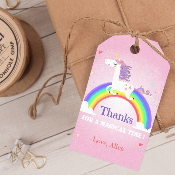 Unicorn Favor Tag PINK, Unicorn Thank You Tag, Rainbow Party Favor Tag, editable Instant DOWNLOAD printable at home