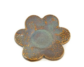 Tea Bag Holder - Brown and blue - Tea Trivet - ring holder - iron lustre - textured dish