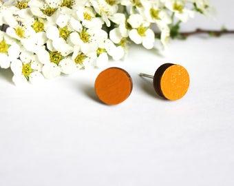 Autumn earrings, fall earrings, orange studs, orange stud earrings, halloween earrings, orange earrings, halloween jewelry, round earrings