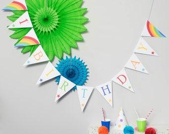 Rainbow Bunting // Party Decoration // Birthday Party Bunting // Card Bunting // First Birthday Decoration // 1st Birthday Party Bunting