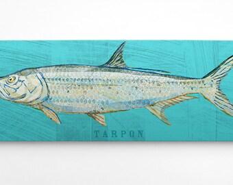 Florida Art, Gift for Him Fishing, Wife to Husband Gifts, Saltwater Fish Art, Tarpon Art Block, Beach House Art, Dad Gifts from Daughter