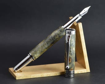 B-1301 fountain pen handcrafted in stabilized buckeye burl