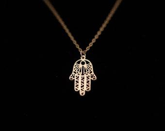 Rose Gold Hamsa Charm Necklace