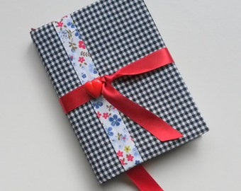 Kistch Gingham Covered Notebook A6 with Heart Button Detail
