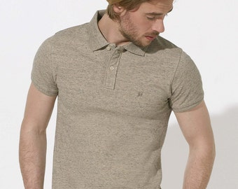 POLO 100% Organic cotton  short sleeve Heather Beige
