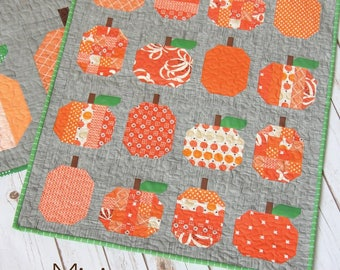Mini Pumpkins quilt pattern - Cluck Cluck Sew, Allison Harris - modern mini quilt, pumpkin quilt, mini quilt, fall quilt, Halloween