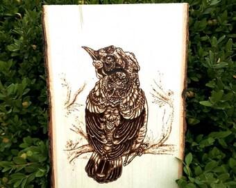 Wood-burned wall art - BIRD