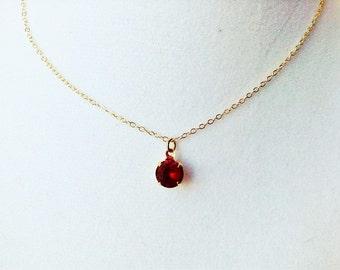 Ruby necklace, ruby pendant necklace, ruby jewelry, tiny pendant necklace, ruby jewelry, siam ruby necklace, july birthstone necklace