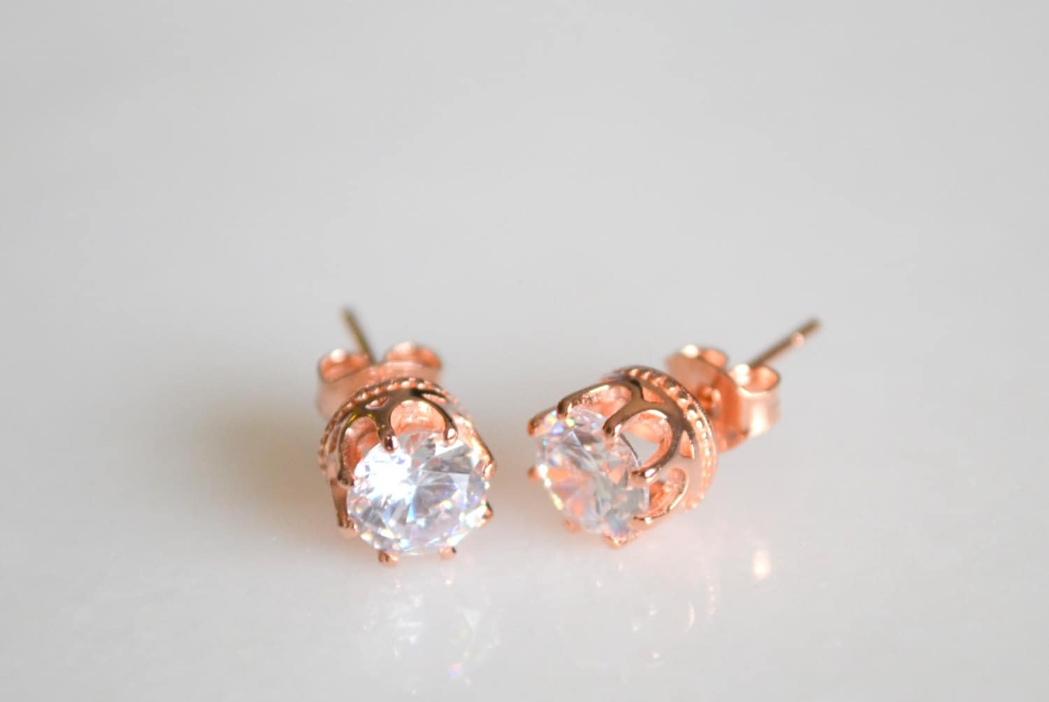 zircon copper cz jewelry silver material bling hip hop stud round tray earring out crown aaa plated earrings iced products