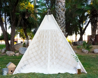 XL Ruffle lace teepee, 8ft kids Teepee, wedding tent, large tipi, Play tent, wigwam or playhouse with canvas and lace