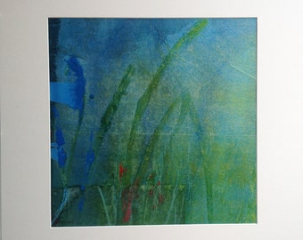 Original painting in blue and green, abstract art acrylic and collage on canvas. Contemporary art.