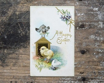 Antique Easter Postcard, Spring Decor, Vintage Ephemera, Collectibles, Nursery Decor, Baby Chicks Card, John Winsch