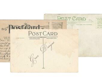Digital Instant download 3 Post Card Backs Antique Vintage Postcard Ephemera Victorian  Postal