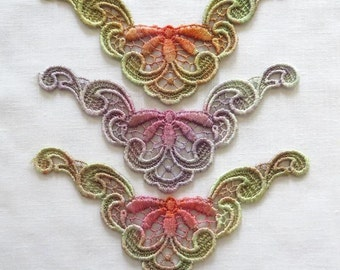 Hand dyed Floral Corner Applique Venise Lace 6030D