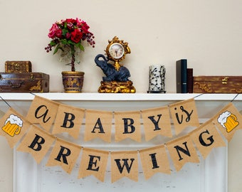 A BABY is BREWING Burlap Banner, Baby Shower, Burlap Banting Welcome Baby, Coed Baby Shower, Couples Baby Shower decor.