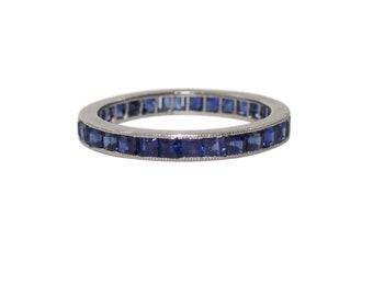 Art Deco Platinum Sapphire Eternity Band