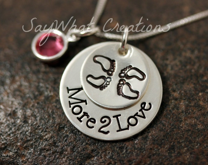 TWINS More 2 Love Hand Stamped Sterling Silver Necklace