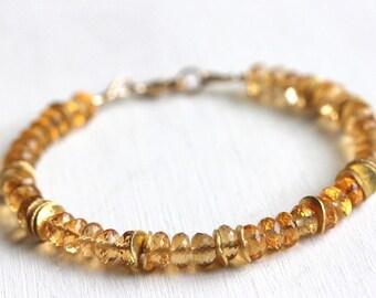 Citrine Bracelet, Gold Filled, Gold Vermeil, November Birthstone, Honey Gemstone, Handmade Jewelry