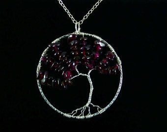 Garnet Sterling Silver Tree of Life Wire Wrapped Necklace