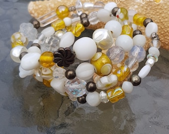Beaded memory wrap bracelet YELLOW WHITE COPPER