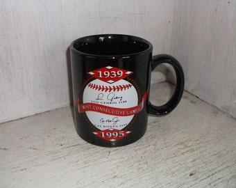 MLB Baseball Most Consecutive Games Coffee Mug Cup 1939 Lou Gehrig 1995 Cal Ripkin