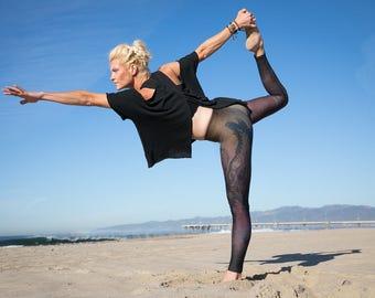 Phoenix Leggings. womens yoga pants. athletic wear, active, tights, brown workout leggings, hand designed