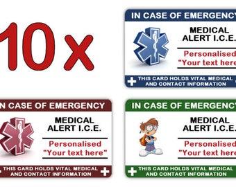 10 x Child I.C.E. Info Cards