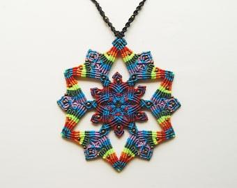 Mandala Macrame Rainbow Necklace. Colorful Boho. Hippie jewelry.