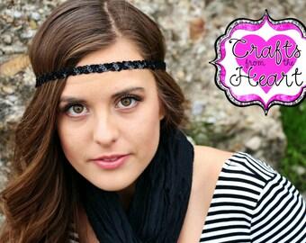 Black Boho Headband - Bohemian Headband - Womens Boho Headband - Forehead Headband - Halo Headband - Boho Headband - Hippie Headband