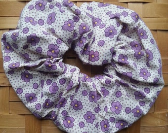 Purple Hair Scrunchie-Purple flowers with yellow centers-30's print